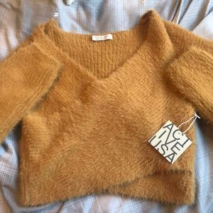 Cropped Fuzzy Long Sleeve